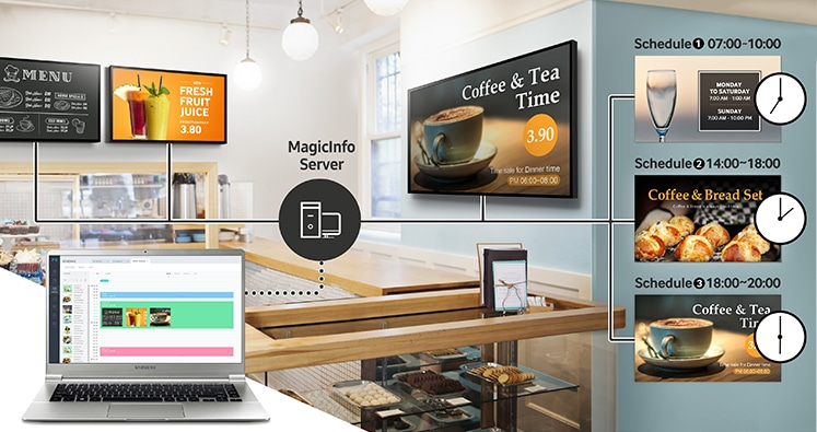 Manage all Samsung SMART Signage remotely from a central location