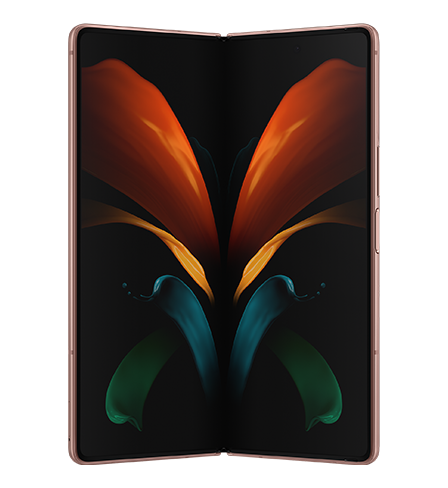 Galaxy Z Fold2 unfolded and seen from the front with the butterfly graphic wallpaper onscreen.