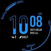 Hourglass watch face in blue