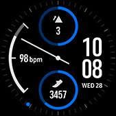 Dual-dial watch face in blue