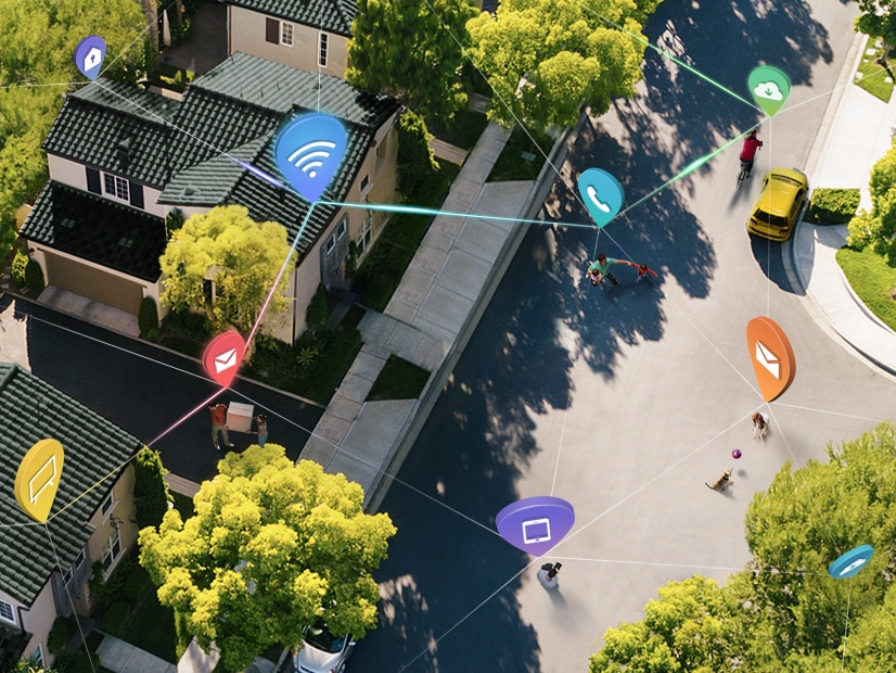 An aerial view of a city with markers throughout, showing the convenience of a connected life with IOT.