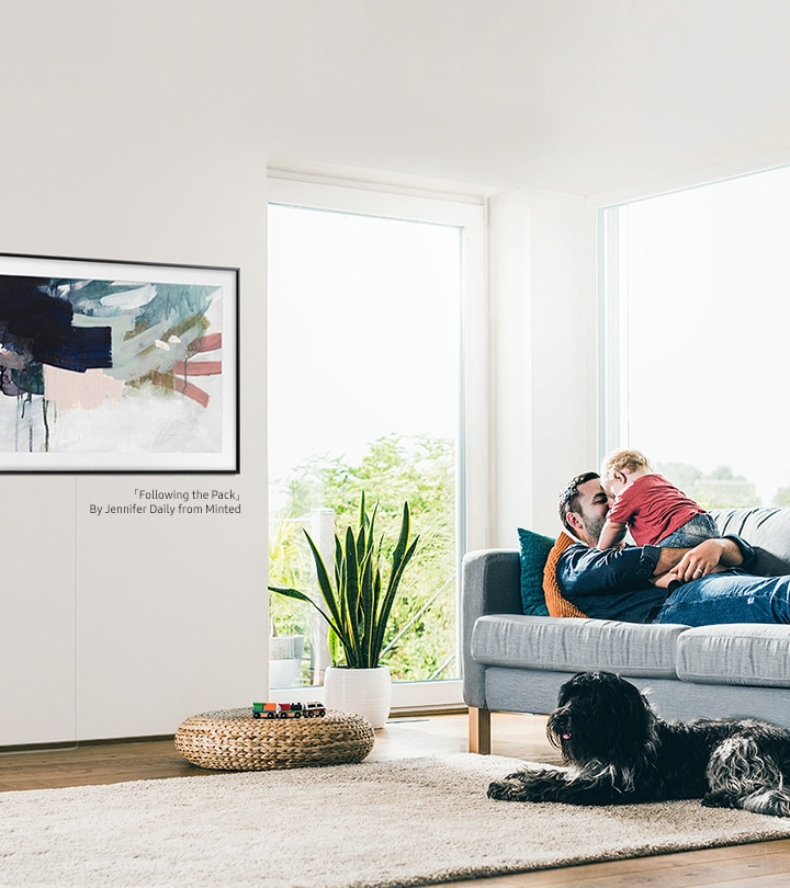 Mounted on the wall, the 2020 The Frame TV has a design that looks like a real picture frame to blend into your living room.