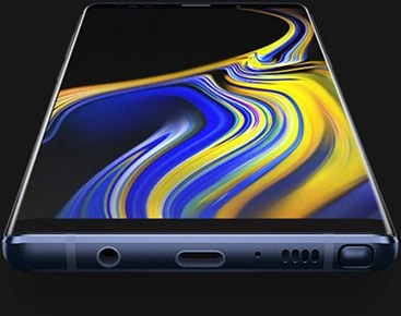 Galaxy Note9 at angle, seen from the bottom, with a matching wallpaper onscreen