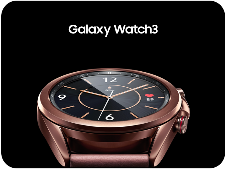 The watch face of a Mystic Brzone Samsung Galaxy Watch 3 smartwatch up close in front of a black background