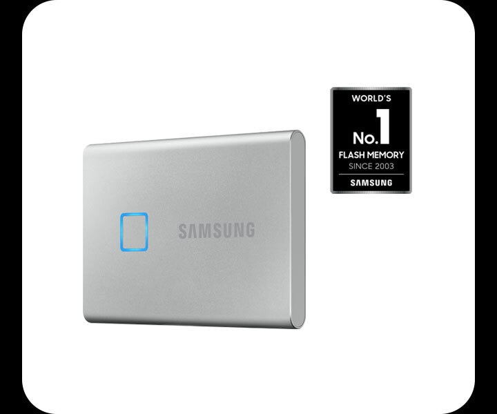 Light grey, Samsung SSD Drive stood up right, pictured slightly at an angle in front of a white background