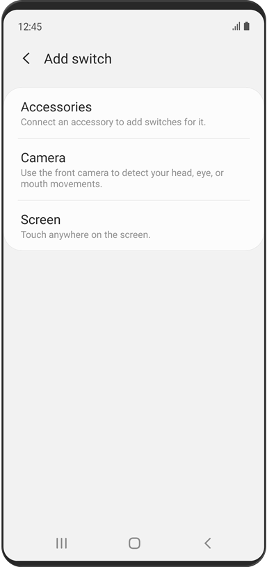 The 'Add switch' menu is displayed. There are three options: Accessories, Camera, and Screen