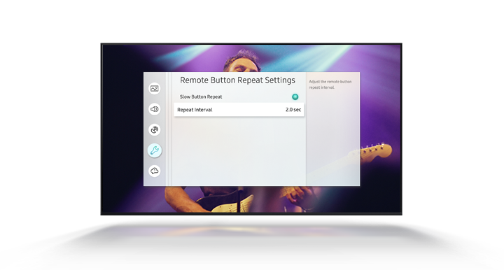 The Remote Button Repeat Settings window is open on a simulated TV display playing a TV show. Slow Button Repeat may be toggled on or off through the menu. Repeat intervals can be adjusted in the sub menu.