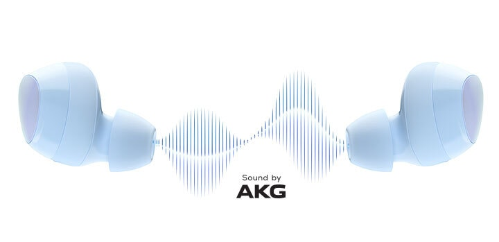 Samsung Galaxy Buds+ in cloud blue, sound by AKG