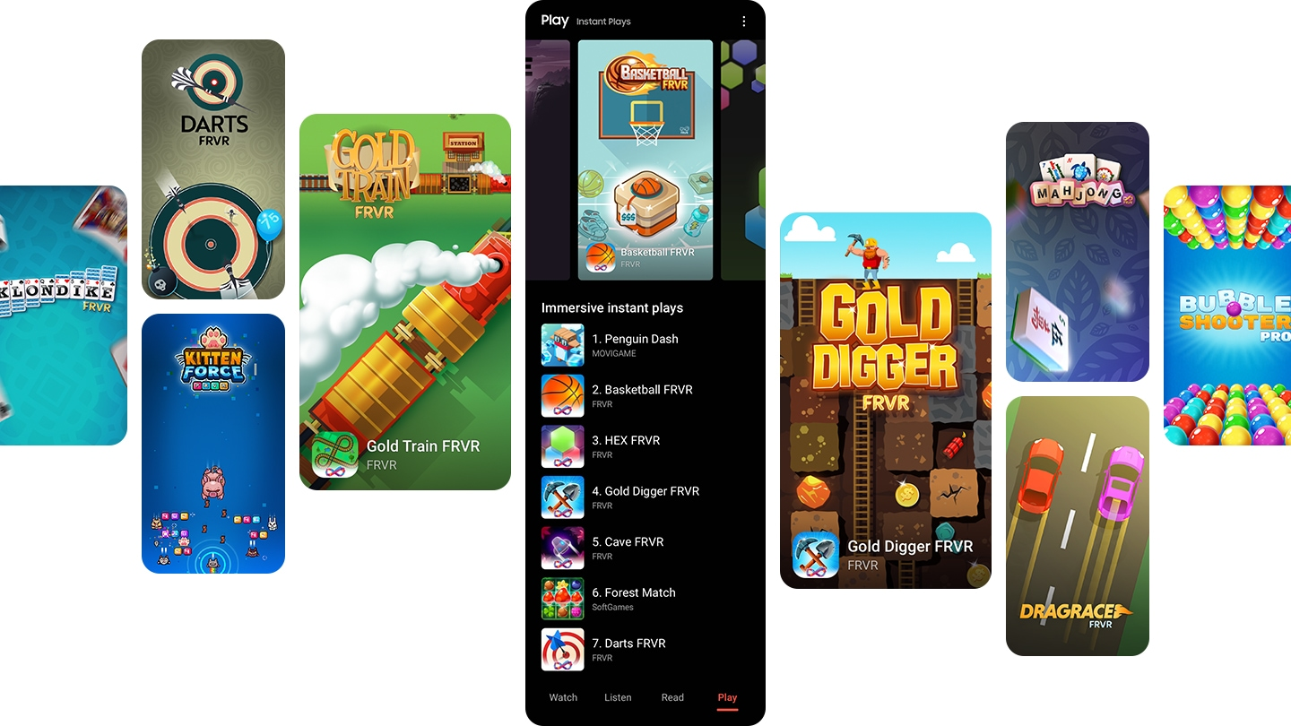 "Numerous Galaxy screens show the Play home screen with a list of ""Immersive instant plays"" laid out below, as well as example screens of various instant games."