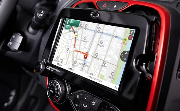 An image showing a satellite navigation service on a tablet installed in a car