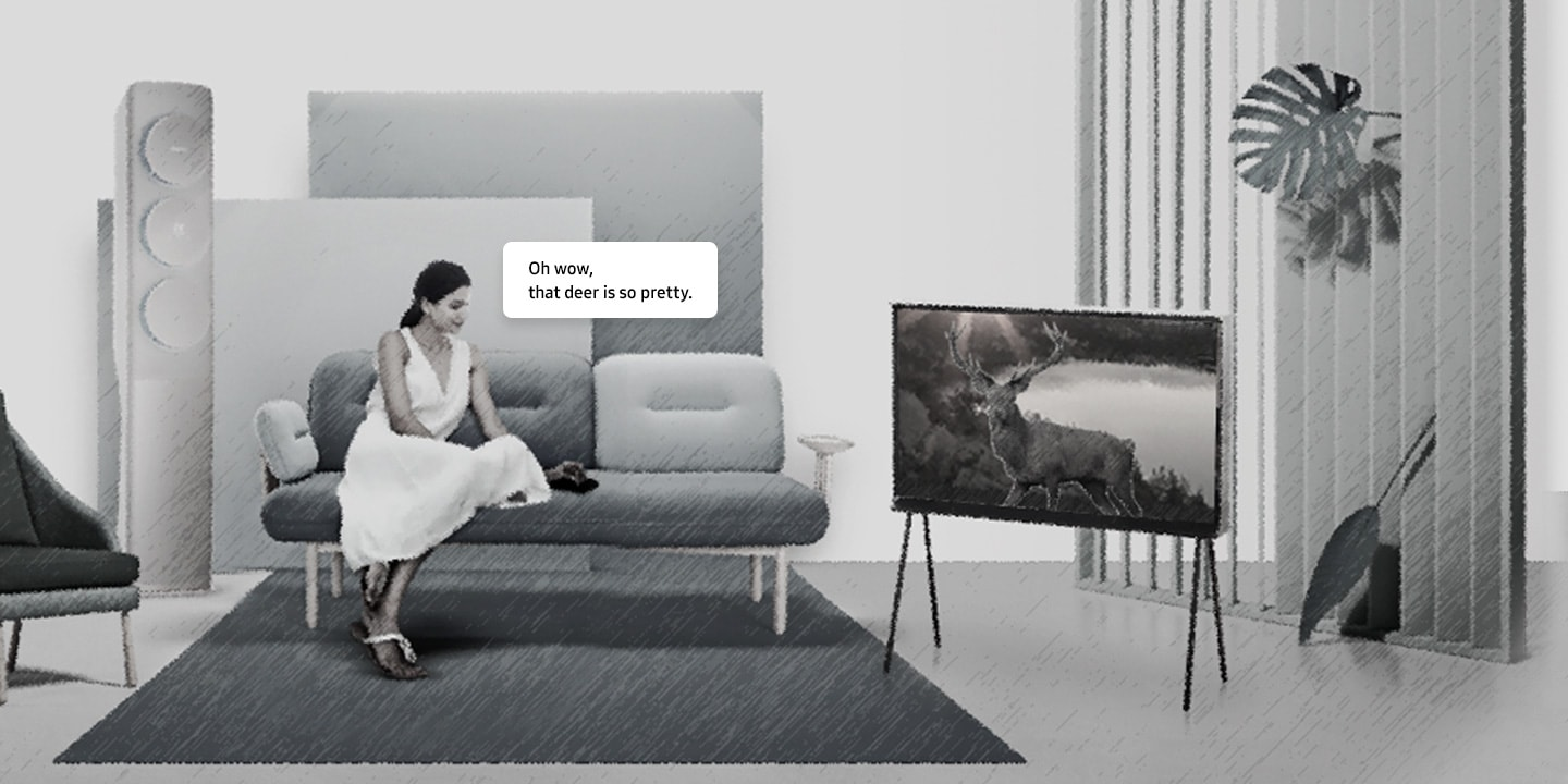 Animation Image of a woman watching TV in a living room.
