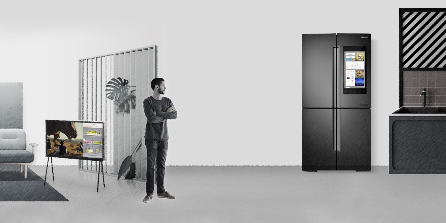 Animation image of the man looking at the refrigerator monitor which is displaying a salmon recipe Bixby recommended.
