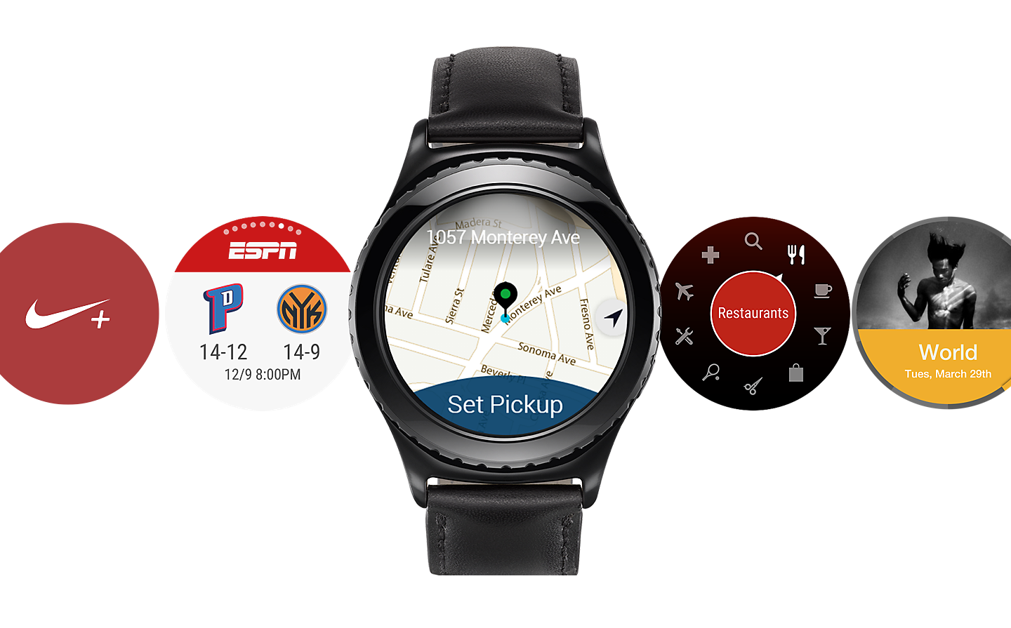 Samsung Gear S2 Apps - Galaxy S2 Smart watches with apps displayed