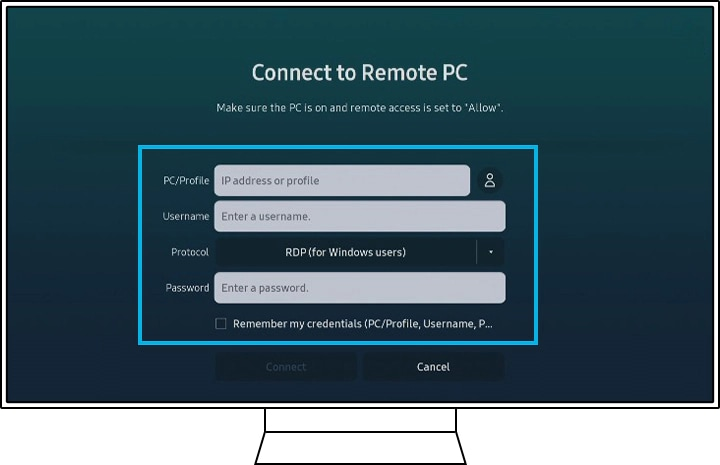connect to remote pc