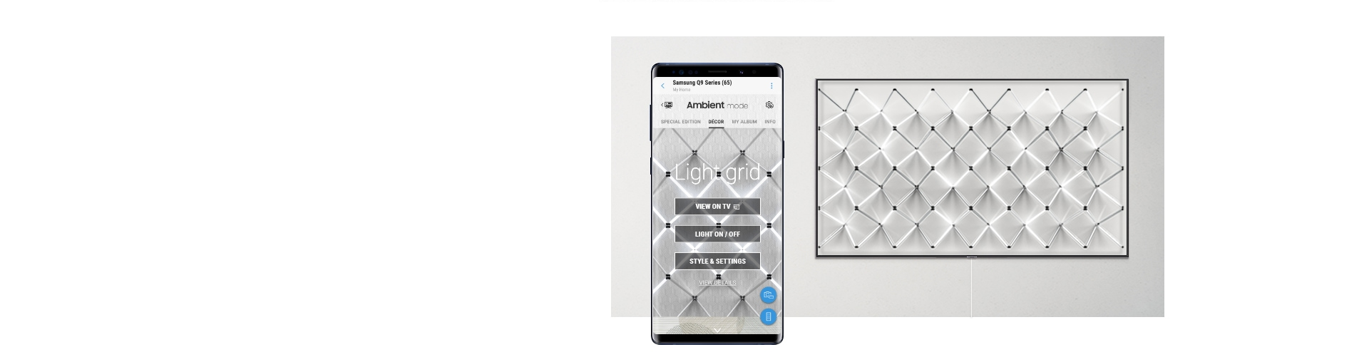 "Image shows 2019 QLED's new Ambient Mode pattern ""Light Grid"" and smart phone to apply the pattern through SmartThings App."