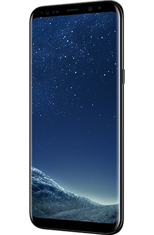Angled right view of Galaxy S8+ in Midnight Black