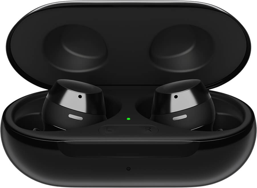 A docked pair of enlarged black Galaxy Buds plus is displayed in an open charging case.