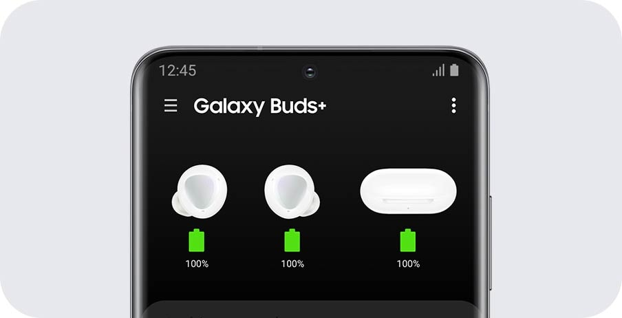 A Galaxy phone with a GUI of the battery life of the earbuds and charging case displayed conveniently on the screen.