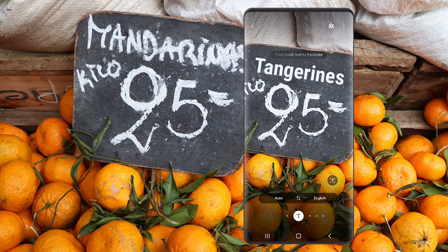 "Translation of the word ""tangerines"" on a price board from Spanish to English using Bixby Vision."