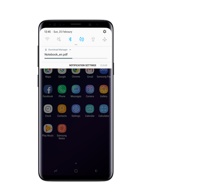 Galaxy S9 or S9+ with Download GUI on-screen