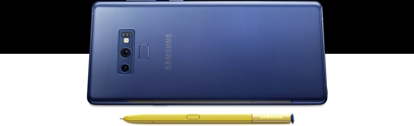 Ocean Blue Galaxy Note9 seen from the rear, sitting on the right side, with yellow S Pen laying in front