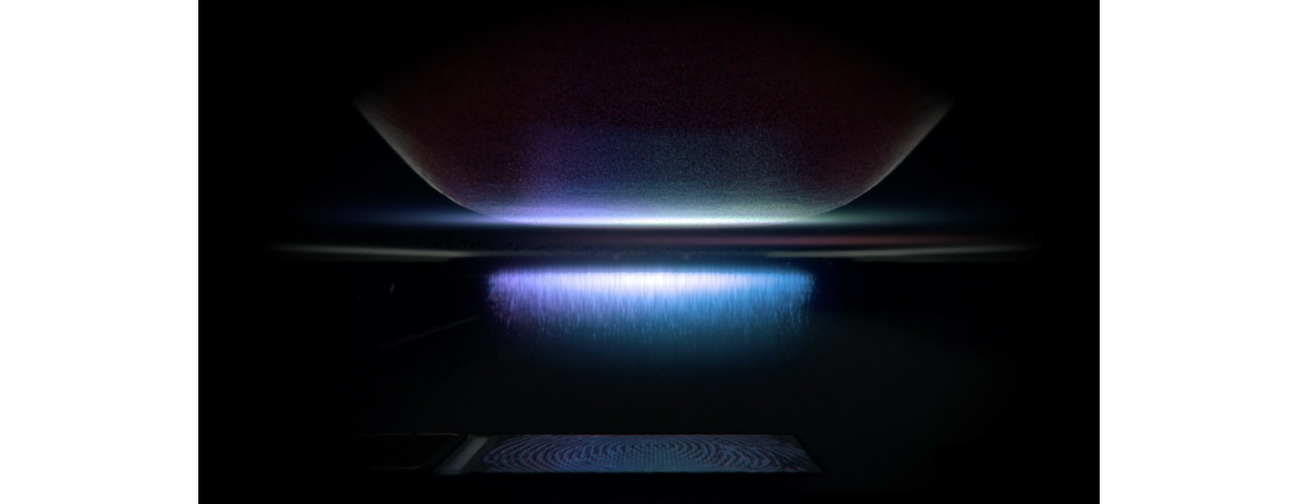 A finger touching the Infinity-O Display with simulated purple pulses emitted by the Ultrasonic Fingerprint Scanner.