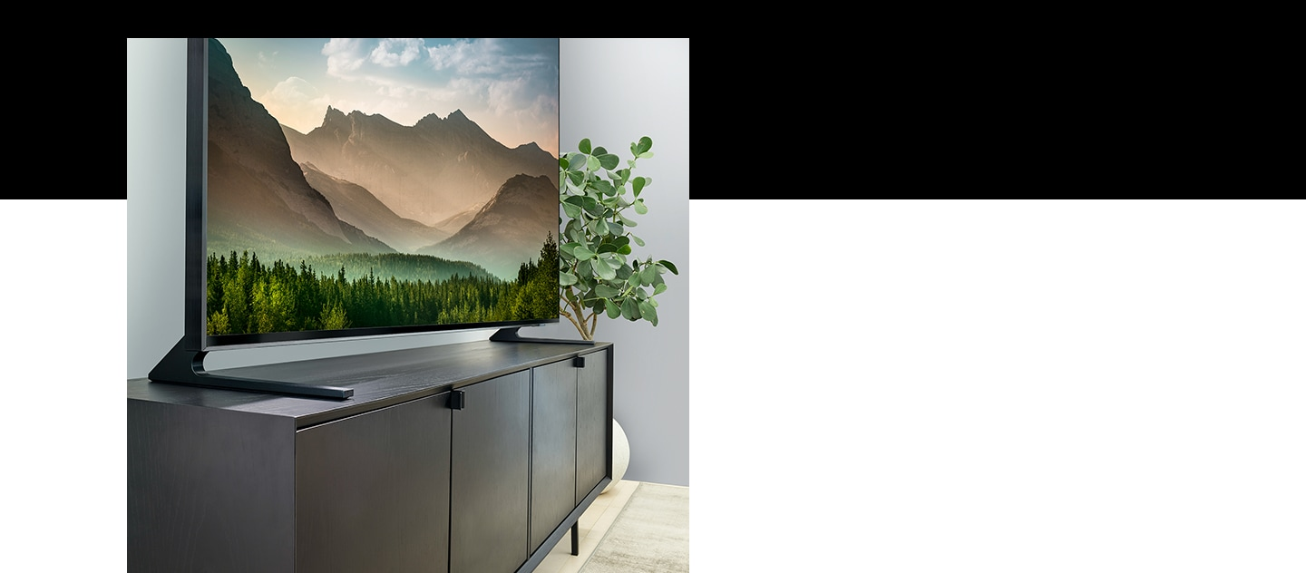 Samsung QLED 8K with bezel-free frame is a big screen TV up to 85 inch. QLED 8K TV with boundless 360 design provides great viewing experience from all angles.