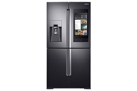 Samsung frenchdoor refrigerator. Family Hub refrigerator in black with built-in screen.