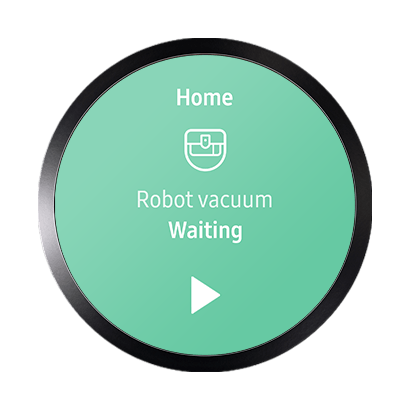 Image of Samsung Connect screen glowing green that says Robot vacuum Waiting. Click play button for robot vacuum
