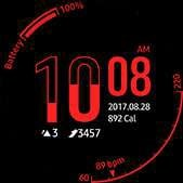 Hourglass watch face in red