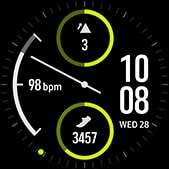Dual-dial watch face in lime