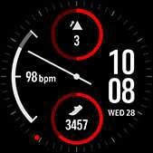 Dual-dial watch face in red