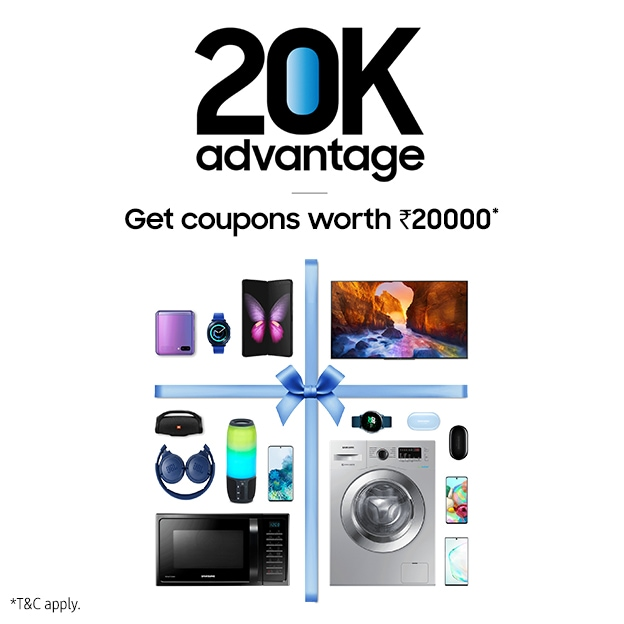 Coupons up to ₹20,000 only on Samsung Shop APP purchase