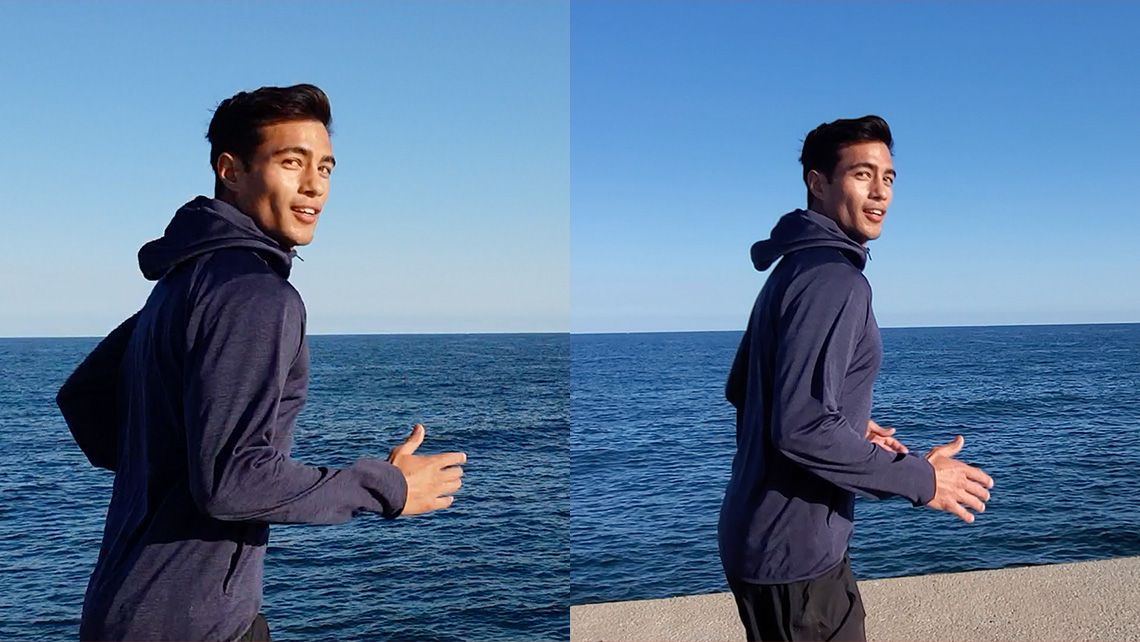 Side-by-side video comparison of a man running along a boardwalk against the sea. The Galaxy S9 side is shaky, dull, and difficult to follow, while the Galaxy Fold side is vibrant, smooth, and very steady