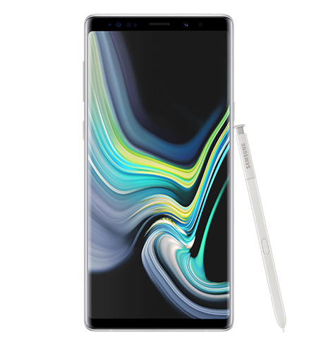 Ocean Blue Galaxy Note9 standing with a blue and yellow swirl design onscreen, and yellow S Pen leaning against it
