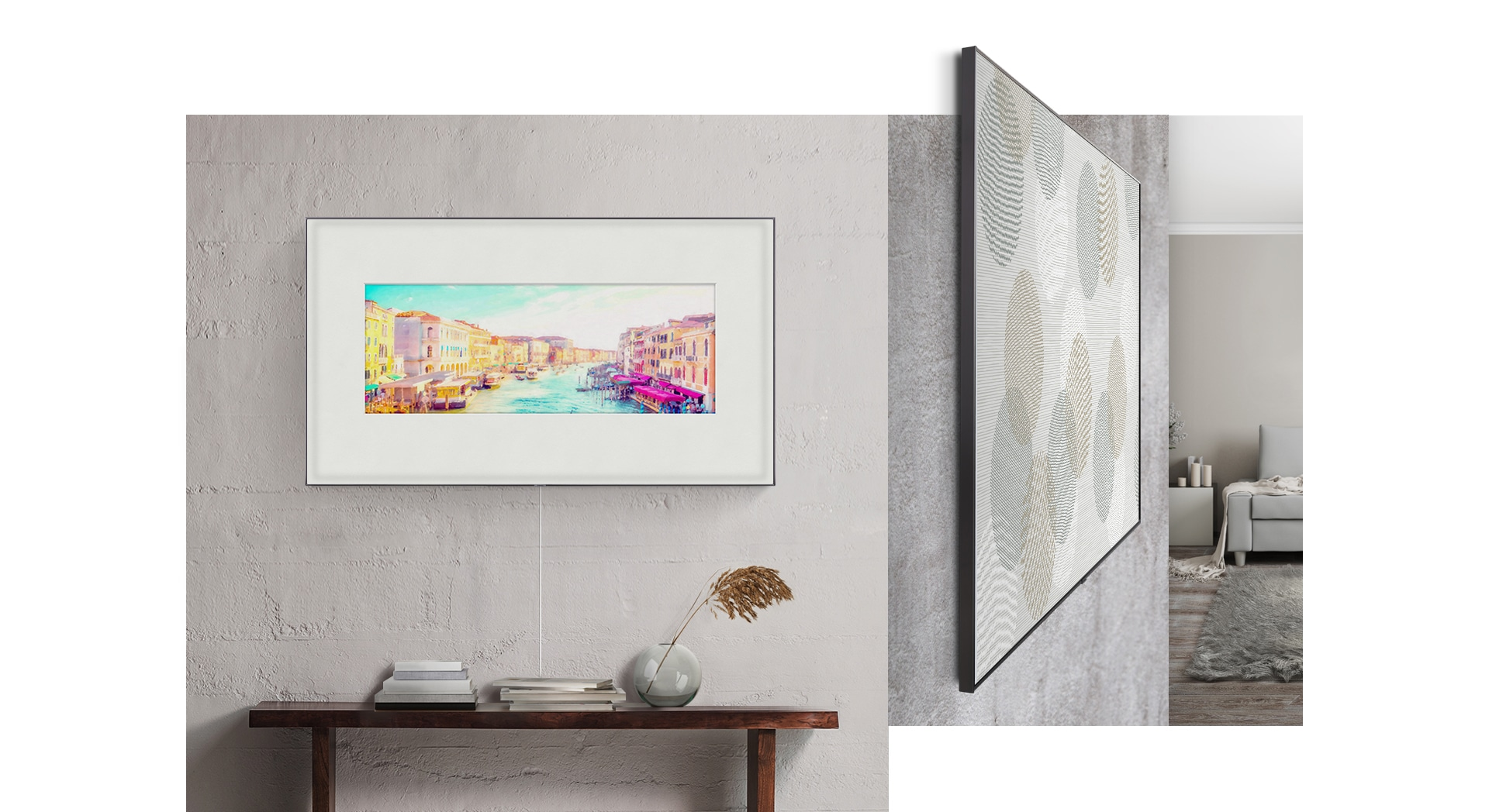 A 2019 QLED TV with Samsung one invisible connection hanging on the wall. Another QLED TV with a no Gap Wall-Mount is on, with Magic Screen for living room decor.