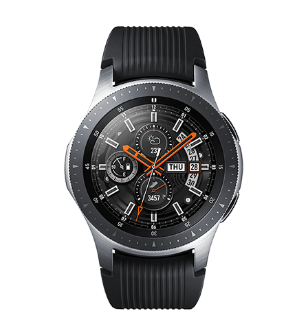 Galaxy Watch in Midnight Black seen from the front