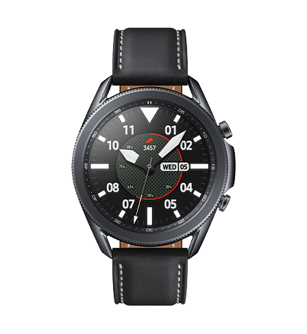 Vista frontale di Galaxy Watch3 da 45 mm in versione Mystic Black con un classico quadrante sportivo.