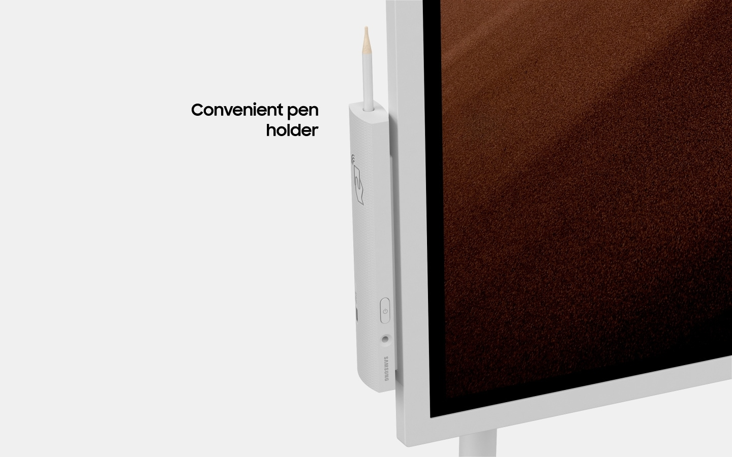 "An image showing a magnified image of a Samsung Flip device's pen holder, displaying its NFC tag with text that reads ""convenient pen holder""(6-3)."