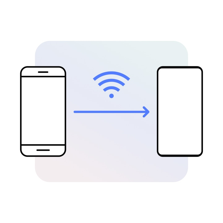 Two device icons are shown side-by-side with an arrow between them going from the left to the right device. Above the arrow is a WiFi symbol. The left Galaxy seems like an older model and the right seems like a newer model.