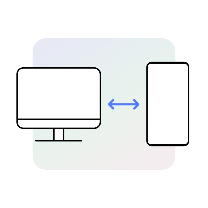 A PC device icon is placed on the left and a Galaxy device icon is on the right. Between them is a two-headed arrow.
