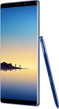 Angled right view of Galaxy NoteS8 in Coral Blue