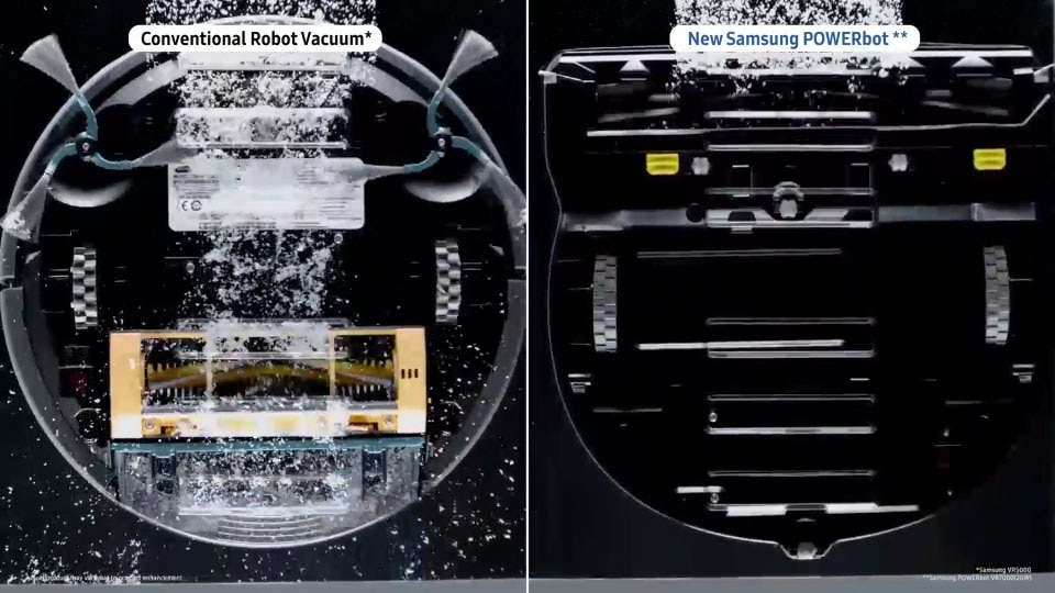 The Crevice cleaning image comparing the performance of a POWERbot VR7000 device and a conventional vacuum cleaner on a clear, perforated floor, and showcasing the POWERbot VR7000's powerful performance.