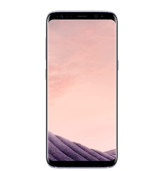 Galaxy S8 in Orchid Gray seen from the front