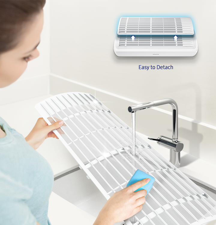 Easy Filter Plus can easily be taken out without opening a cover or pull hard to get it out.