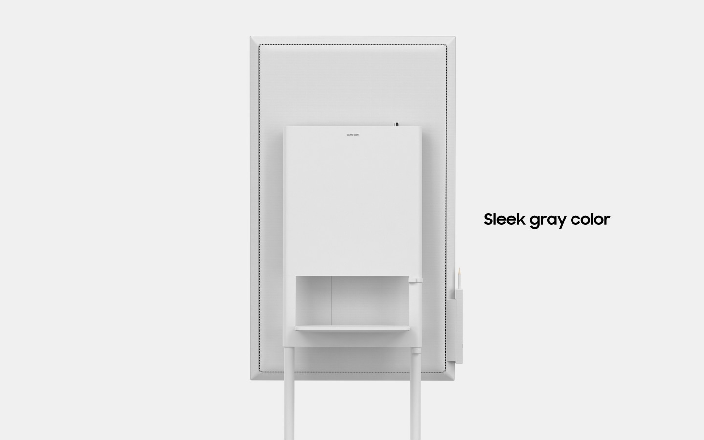 "An image showing a Samsung Flip device rotating, to show the back of the device with text that reads ""Sleek, gray color""(6-4)."