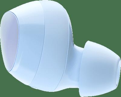 Un conjunto flotante de audífonos Galaxy Buds azules ampliados se desliza horizontalmente a medida que aparece 'Sound by AKG' en el fondo central y ondas de sonido animadas desde los altavoces hacia adentro.