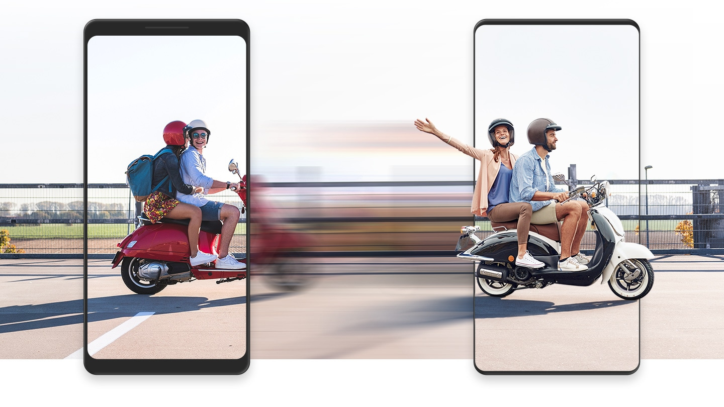 Data transfers quickly and easily from your old device to a new Galaxy, represented by a pair of scooters zooming from left to right, one framed by the simulated bezels of an old device and another framed by the shape of a new Galaxy device. Between the two vehicles is a blurred motion effect, indicating speediness.