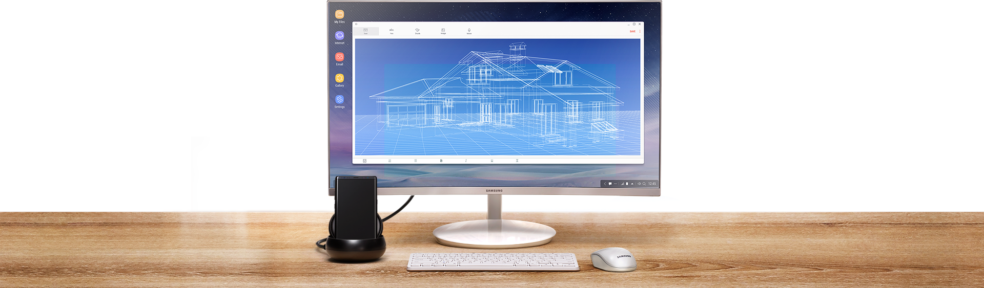 Image of a desk with Galaxy Note8 in Samsung DeX Station, with monitor, keyboard, and mouse.