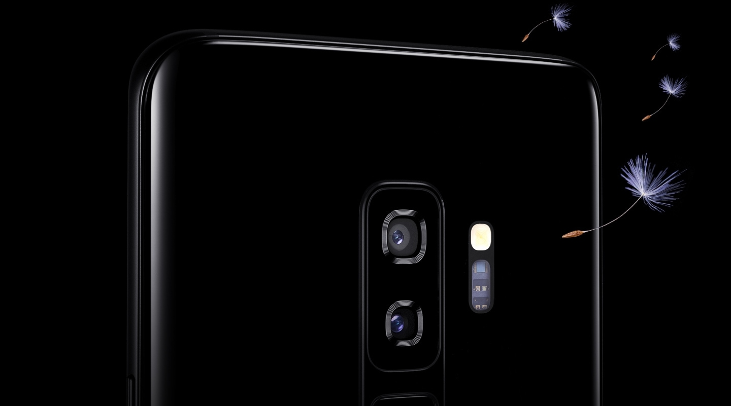Galaxy S9 or S9+ seen from the back to show the dual camera